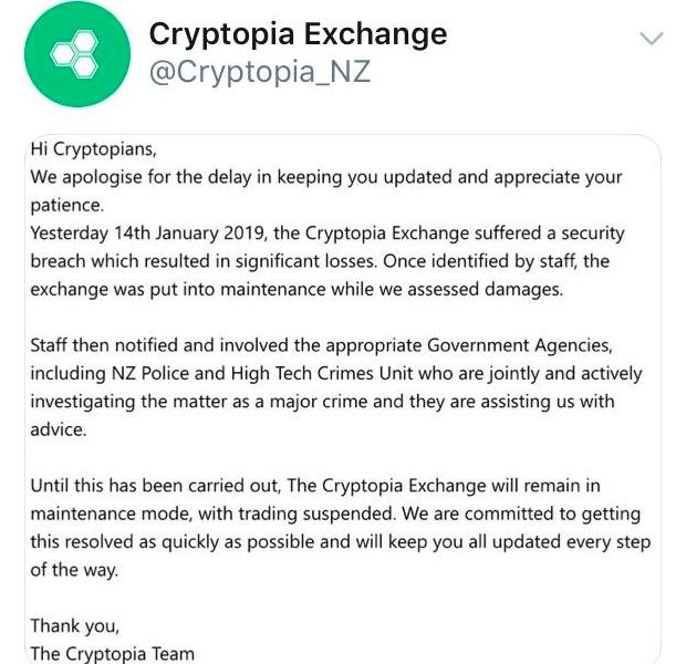 cryptopia äußerte sich über twitter