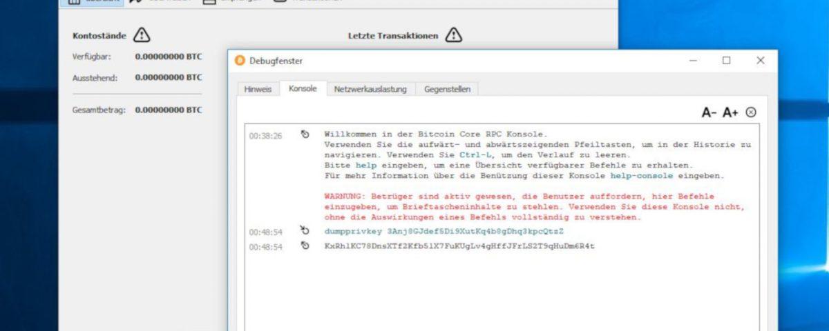 Private Key aus dem Bitcoin Wallet