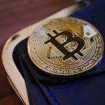 Bitcoin Münze mit Brieftasche