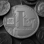 Litecoin Münze mit Kleingeld