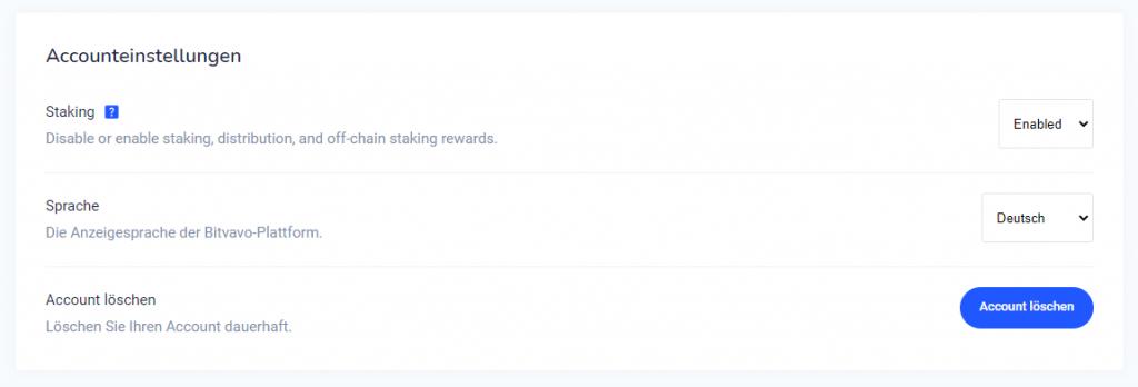 Bitvavo Staking Account