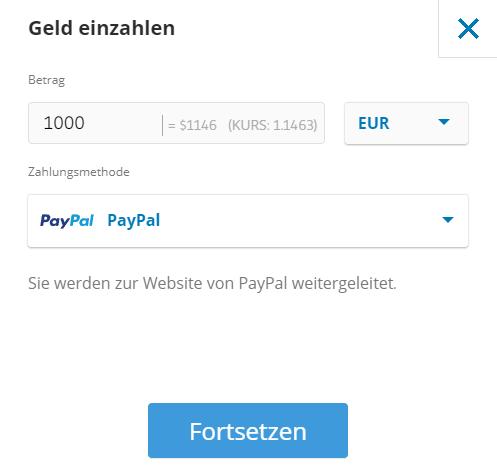paypal einzahlen